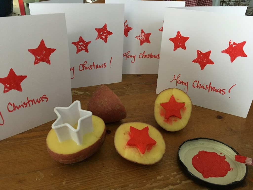 Potato Stamped Christmas Cards – Day 1 Michelle Makes Christmas
